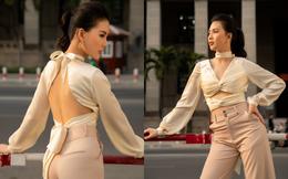 Siêu mẫu Quỳnh Hoa khoe khéo lưng trần và vòng eo 54 cm