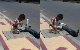 Cậu bé nhem nhuốc bốc ăn trên hè phố, hành động với chú mèo lạ khiến bao người xúc động