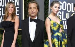 """Thảm đỏ Quả Cầu Vàng: Taylor Swift chặt chém với hình ảnh siêu nữ tính, Brad Pitt - Jennifer Aniston bất ngờ """"hội ngộ"""""""