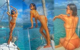'Nữ thần phim 18+' xứ Đài diện bikini 'bỏng rẫy' trên du thuyền