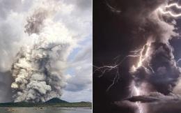Cột khói khổng lồ xen lẫn sấm chớp ẩn hiện trông như 'cột chống trời' khi núi lửa hoạt động trở lại sau hơn 40 năm ở Philippines