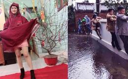 Những pha chúc Tết 'cồng kềnh' ngày mùng 1: Trùm áo mưa kín mít, xỏ dép tổ ong rồi bám tường đội mưa đến nhà họ hàng