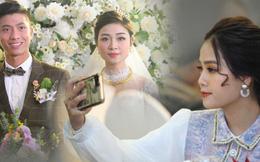 Bạn gái tin đồn của Quang Hải ăn vận xinh đẹp, một mình tới dự tiệc cưới của Văn Đức - Nhật Linh