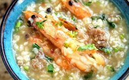 Dùng nồi cơm điện nấu cháo tôm thịt ngon miễn bàn cho bữa tối nhẹ bụng
