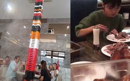 """Nhìn 3 giây đầu tưởng đâu cột nhà trong tiệm lẩu, đến khi ngó kỹ mới biết đây là tác phẩm của một vị khách có sức ăn """"gấp 10 lần"""" người bình thường"""