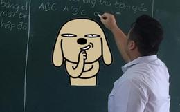 """Lên bảng làm bài tập phát hiện nhóm bạn ở dưới có đồ ăn, """"chàng mập"""" nhanh trí viết 1 từ lên bảng ai cũng phá ra cười"""