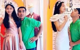 """Loạt ảnh MC Quyền Linh """"lép vế"""" trước chiều cao của Lọ Lem: Có con gái đẹp bị dìm thế chứ dìm nữa bố cũng vui"""