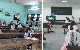 Chùm ảnh học sinh đi học lại: Ngồi cách nhau 1.5m, hạn chế nói chuyện, đeo khẩu trang đầy đủ