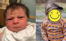 """Biểu cảm """"hờn cả thế giới"""" của em bé vừa mới chào đời khiến ai cũng buồn cười, hình ảnh lúc lớn càng ngạc nhiên"""