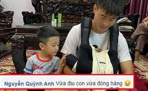 Duy Mạnh vừa địu con vừa tất bật giúp vợ đóng hàng, Quỳnh Anh nhìn còn thấy thương