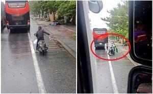 Đoàn ô tô mắc kẹt trên đường vì siêu bão số 9, người dân Huế đội mưa gió ra đường gõ cửa từng xe tiếp tế lương thực