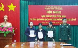 Tuyển dụng, trao quân hàm cho vợ con liệt sĩ Thiếu tướng Nguyễn Văn Man
