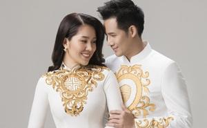 Lê Phương diện áo dài cưới, e ấp bên Thanh Thức
