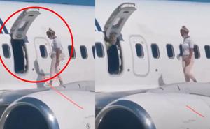 Máy bay vừa đáp, nữ hành khách bỏ mặc chồng con liền bước ra cánh máy bay để... hóng gió vì quá nóng, nhận luôn cái kết cay đắng