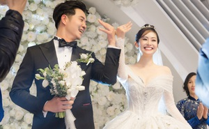 Cô dâu Thùy Linh cười hạnh phúc bên chồng kém 5 tuổi