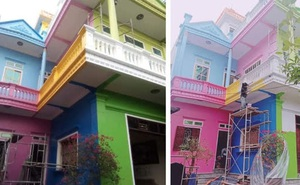 Căn nhà sơn đủ màu sắc loè loẹt nhìn mà nhức mắt, hậu quả của chuyện 5 người 10 ý đây chăng?