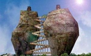 """""""Tháp đôi"""" trăm tuổi sừng sững trên cột đá 40m, du khách nào đến cũng cùng câu hỏi: Không đường lên thì xây kiểu gì?"""