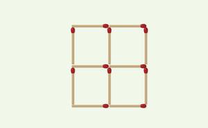 Thách thức trí não 30 giây: Đố bạn di chuyển 3 que diêm để xếp thành 3 hình vuông