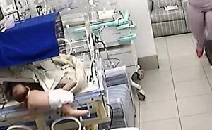 Kinh hoàng xem cảnh bé sơ sinh bị ngã từ trên lồng ấp xuống đất ở độ cao 1,4m