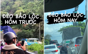"""Du khách bắt đầu """"nín thở"""" trên chặng đường từ Đà Lạt trở lại thành phố: Mới đến đèo Bảo Lộc đã tắc thế này đây!"""
