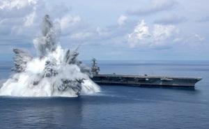 Siêu tàu sân bay Mỹ 'sống sót' sau màn tra tấn cuối cùng bằng 18 tấn thuốc nổ