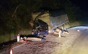 Xe tải chở mận đâm vào vách núi, 2 người thương vong