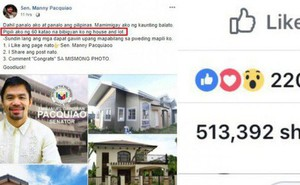 """Hứa hẹn tặng 60 ngôi nhà, trang Facebook """"Manny Pacquiao"""" giả mạo khiến dân mạng Philippines điên đảo"""