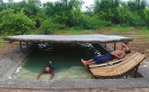 Hai chàng trai nhận về thành quả xứng đáng sau khi tự đào hồ, đóng gạch, chặt cây