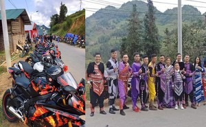 Xuất hiện đoàn rước dâu mặc trang phục dân tộc thiểu số, cưỡi mô tô phân khối lớn ở Lào Cai