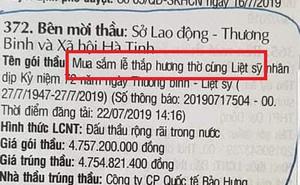 """Xôn xao thông tin gói thầu """"mua sắm lễ thắp hương"""" gần 5 tỷ đồng của Sở LĐTBXH Hà Tĩnh"""