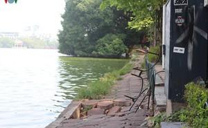 Ảnh: Đường dạo quanh hồ Hoàn Kiếm sụt lún mất an toàn