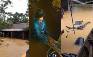 Cận cảnh những ngôi nhà bị nước bao vây gần chạm nóc trong rốn lũ tại Hà Tĩnh