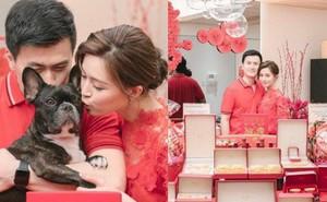 """Lễ đính hôn của """"Thần tiên tỷ tỷ"""" Văn Vịnh San: Sính lễ toàn vàng ròng, bạn thân 1 thời Angela Baby vắng mặt"""