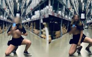 """Thiếu nữ vạch áo giữa siêu thị lớn như chốn không người khiến dân tình """"choáng váng"""""""