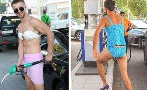 Nhiều anh trai Nga rủ nhau mặc bikini, đi giày cao gót để được đổ xăng miễn phí