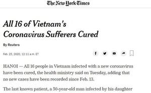 Báo quốc tế đưa tin tất cả 16 người mắc Covid-19 ở Việt Nam được chữa khỏi