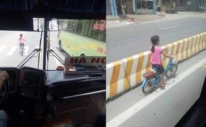 Che cho cô bé đi xe đạp khỏi nguy hiểm, lái và phụ xe khách khiến bao người cảm động