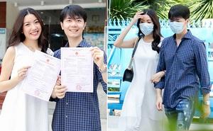 Á hậu Thúy Vân đi đăng kí kết hôn với chồng doanh nhân
