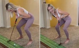 Nữ golf thủ dùng ngực đánh golf gây 'bão mạng'