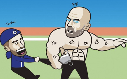 """Biếm họa 24h: HLV Tuchel """"trì hoãn"""" ngày nâng cúp Ngoại hạng Anh của HLV Guardiola"""