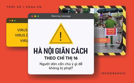 [INFOGRAPHIC] Người dân Hà Nội cần chú ý gì để không bị phạt khi giãn cách theo Chỉ thị 16?