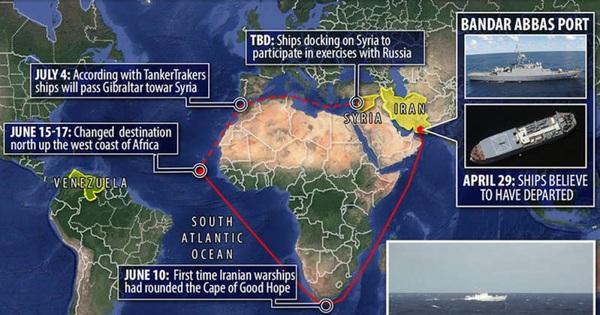 Tàu chiến Iran đổi hướng ở Đại Tây Dương, di chuyển dọc bờ biển châu Phi