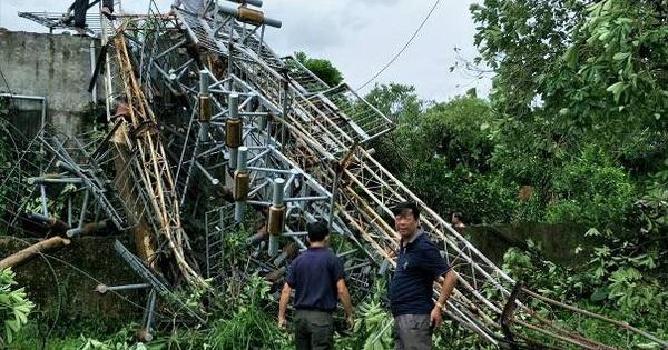 Thêm ăng-ten phát thanh, truyền hình cao 60 m bị bão đánh đổ