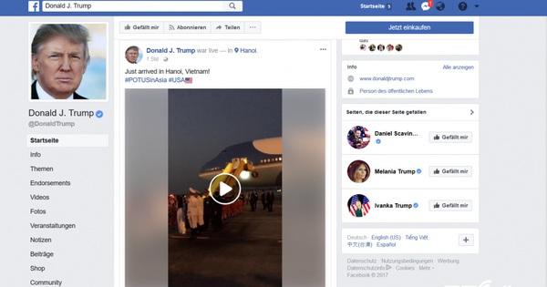 Vừa đến Hà Nội, Facebook của Tổng thống Trump đã phát trực tiếp video