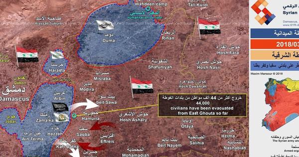 Nhóm thánh chiến lớn ở Đông Ghouta đầu hàng, quân đội Syria chiếm thị trấn then chốt