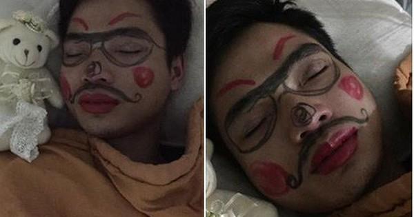 """Đừng bao giờ ngủ khi vợ vẫn còn đang thức, nếu không khuôn mặt bạn sẽ trở thành """"kiệt tác"""" như anh chồng này"""