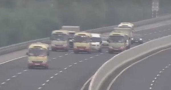 Xác minh 3 xe khách dàn hàng ngang trên cao tốc Hà Nội – Hải Phòng