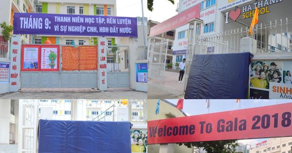 Thanh tra Hà Nội vào cuộc, hàng loạt biển trường học đột nhiên được che bịt