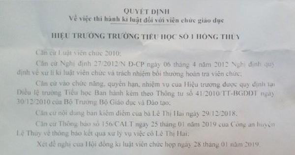 Cô giáo ở Quảng Bình tát học sinh chảy máu tai bị phạt 2,5 triệu đồng