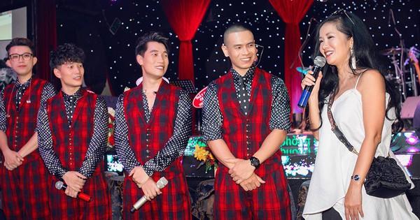 Diva Hồng Nhung mặc trẻ trung, gợi cảm đến chúc mừng nhóm Oplus ra mắt album mới